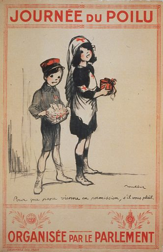 Journée du Poilu. Organisée par le Parlement. A young girl in a Red Cross nurse's uniform and a small boy wearing a red cap, carrying a collection cup and selling medals - 'So that Papa may come on leave, if you please.'. Date 1915.