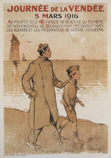 Journée de la Vendée. 5 mars 1916. A disabled soldier and a boy in a uniform walking along the water. Date 1916.