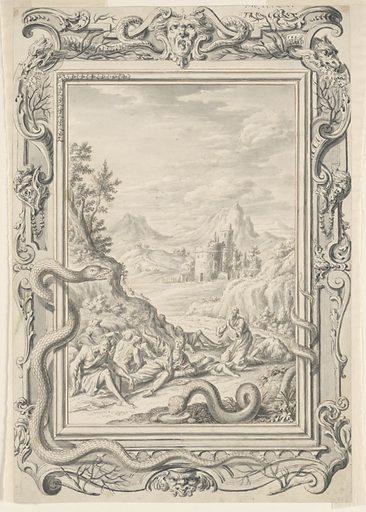 In the foreground a group of men in robes, in various states of undress, are shown writhing on the ground at the base of a mountain or hill. A bearded man on the right is on his knees, facing his right with his hands clasped in prayer. A large serpent appears in front of them, with his body partially wrapped around the right portion of the picture frame. A mountainous landscape that includes a building with two turrets can be seen in the background. Another large serpent is partially wrapped around the picture frame on the left side, and his curving body extends below the bottom portion of the frame. The elaborately ornamented frame also includes decorative masks, tree limbs, and fire-breathing creatures that resemble serpents or snakes. Made in: Zürich, Switzerland. Date: 1720s. Record ID: chndm_1940-110-8.