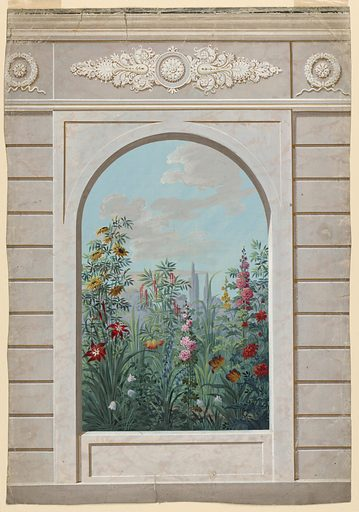 View in a garden through an arched opening in its wall. Made in: Austria. Date: 1820s. Record ID: chndm_1940-120-30.
