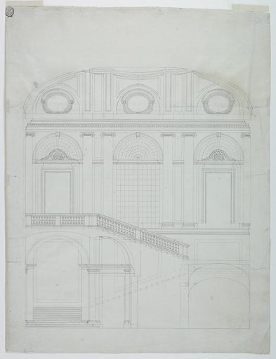 Vertical format architectural drawing. The building depicted is two stories. In the upper story is a window between two doors all having frontispeices with panes of glass; the entablature is supported by pillars. The ceiling is vaulted. Visible are three bull's eyes. Made in: Piermarini, Italy. Date: 1770s. Record ID: chndm_1940-21-31.