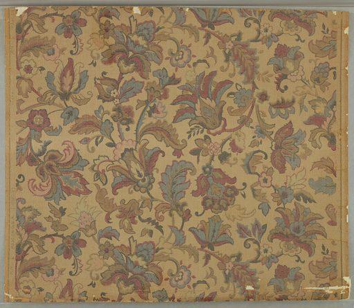 Overall foliate pattern of formalized flowers and leaves, after the Indian style. Full width, with somewhat more than one repeat. Printed in colors with gilt on pebbled ground. Date: 1920s. Record ID: chndm_1940-75-6.
