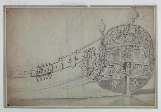 The stern of a ship featuring two rectangular central windows and decorated with an English coat of arms used by the Stuarts, the initial D, and sculptural figures including men on horseback, putti, and classical imagery including Poseidon. Directly above the stern are two circular lamps. The port of the ship to the left of the stern has minimal exterior decoration except for a window flanked by two putti holding a crown. Made in: Netherlands. Date: 1700s. Record ID: chndm_1941-49-20.