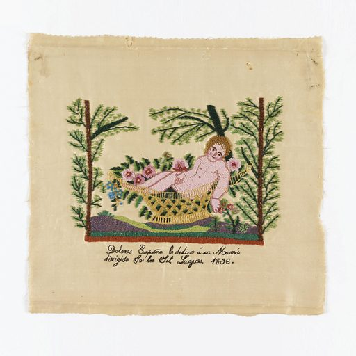 """Moses in the Bulrushes. Inscription in back stitch (?) reads """"Dolores Espoña dedicates this to her mother, made at the direction of…."""". Made in: Mexico. Date: 1830s. Record ID: chndm_1941-69-195."""