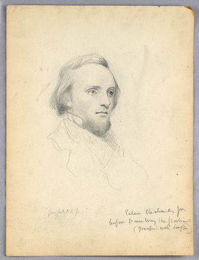 Young man with a short beard, facing halfway towards the right. His collar is suggested in outline. Name and note, lower right. Made in: USA. Date: 1840s. Record ID: chndm_1942-50-633.