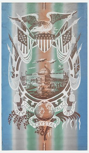 """Glass and cast iron building (The New York Crystal Palace) within large circular frame. Clusters of people on Palace grounds. Atop this is a spread eagle perched on shield of stars and stripes. Flanking eagle are unfurled flags of U.S. and other nations. At bottom center is globe on banner reading """"New York Crystal Palace 1853,"""" below which are a spray of flowers and a palm frond. Six fleurs-de-lys edge bottom of frame. Printed in grey, coral and green """"rainbow"""" stripes, white and brown on a blue ground which has been applied to both sides of paper. Made in: USA. Date: 1850s. Record ID: chndm_1944-66-1."""