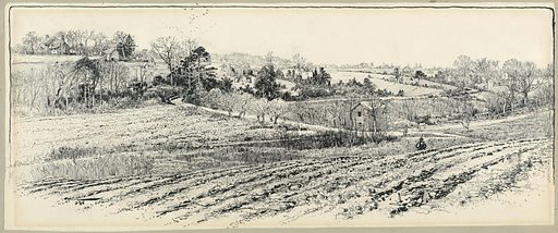 View of the battlefield. In the middle ground, Ellerson's mill; left background, the Cattin farmhouse. Made in: USA. Date: 1880s. Record ID: chndm_1947-87-15.
