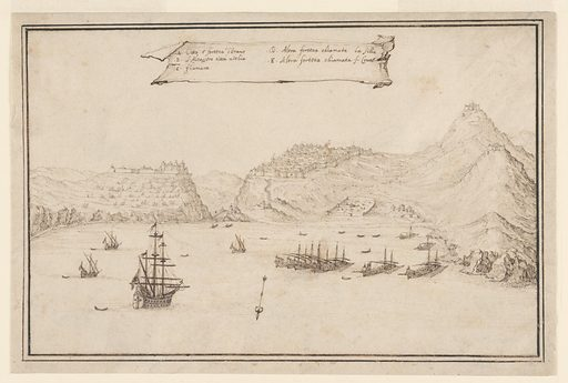 A body of water scattered with ships appears in the foreground, and mountains, with buildings atop, appear in the background. A large banner with text in Italian appears in the top center. The banner text includes letters indicating places that correspond to letters dispersed throughout the composition. An arrow indicating the direction of the map appears in the lower center. Made in: Italy. Date: 1610s. Record ID: chndm_1948-118-64.