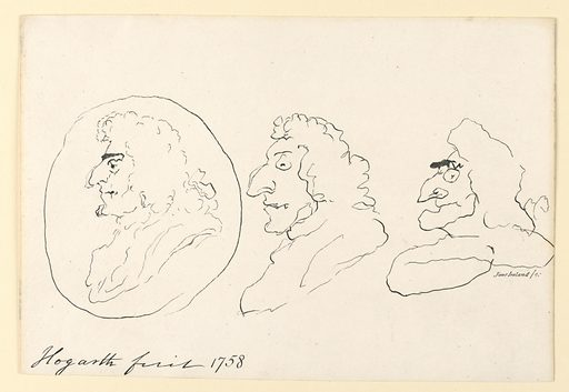 Three grotesque profiles of men in long wigs, outlined with scratching, exploratory lines imitating roughly drawn grotesques by William Hogarth. Print maker: Jane Ireland, British. Made in: England. Date: 1790s. Record ID: chndm_1949-152-74.