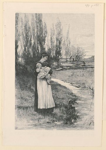 Woman stands in foreground, holding an infant in her arms. The irrigation ditch is seen in front of her. Farmer in distance at work. Made in: USA. Date: 1880s. Record ID: chndm_1953-130-1-a.