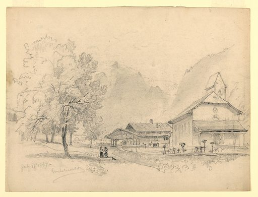 Sketch of a village with a church on the right, a couple in the center with a dog, and mountains in the background. Made in: Grindelwald, Switzerland. Date: 1860s. Record ID: chndm_1953-179-40.