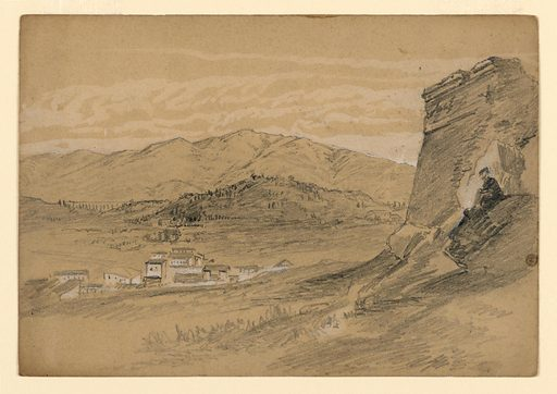 Sketch of a village with mountains in the background. Made in: USA. Date: 1860s. Record ID: chndm_1953-179-59.