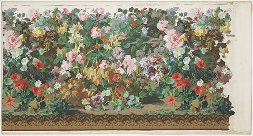 High, thick cluster of flowers and leaves growing from brown soil at bottom. Flowers, in bright colors, are roses, tuberoses, daisies, poppies, morning glories, and others. The base of the pedestal which appears in the decoration fitting above this dado can be seen dimly, on white ground. Made in: Paris, France. Date: 1850s. Record ID: chndm_1955-12-5-a_c.