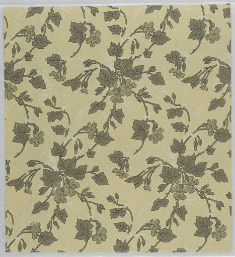 Aesthetic style pattern with single-motif diamond-shaped repeat of scattered vine-like branches with five-petaled flowers and fig leaves in off-set horizontal rows; strong sense of movement toward bottom left; ground has effect similar to marbling with some of the marbling seemingly cutting over the branches; color scheme of light browns; yellow ground. Made in: USA. Date: 1880s. Record ID: chndm_1970-26-4-ck.