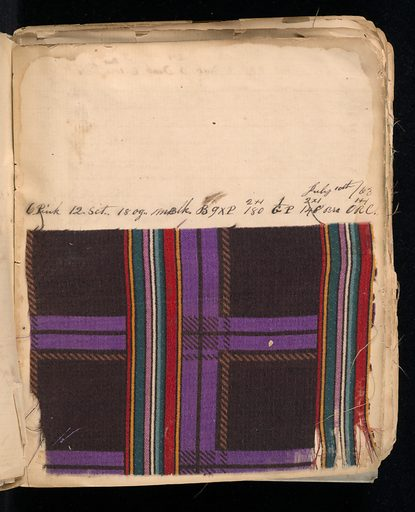 Notebook with handwritten formulas for dyestuffs to be used for printing textiles. Book contains 269 samples in various designs such as flowers, dots, stripes, squares, and circles. Made in: Lawrence, Massachusetts, USA. Date: 1860s. Record ID: chndm_1945-55-16.