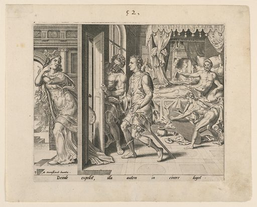 Ammon appears in bed ordering his servants to eject his sister Thamar, who leaves the room by a door in the left foreground. Print maker: Martin Van Heemskerk, Netherlandish, 1498 – 1574. Made in: Netherlands. Date: 1550s. Record ID: chndm_1947-124-3.