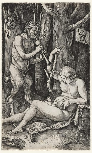 A satyr stands at left, playing a flute. A woman is seated on an animal skin, at right, holding a child on her lap. Trees in the background. Made in: Germany. Date: 1500s. Record ID: chndm_1950-30-5.