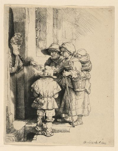 An old man, a woman, and a small boy stand before the open door of a house. A man, partially seen in the doorway, left, places some coins in the outstretched hand of the woman. Made in: Netherlands. Date: 1640s. Record ID: chndm_1951-170-42.