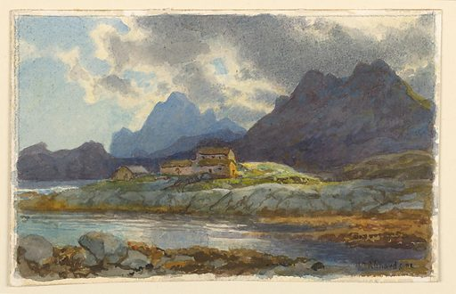 Sketch of a fiord with rock in the background. In the foreground, a narrow strip of land just out into the sea, with a small group of houses in the center. Made in: Norway. Date: 1900s. Record ID: chndm_1953-179-80.