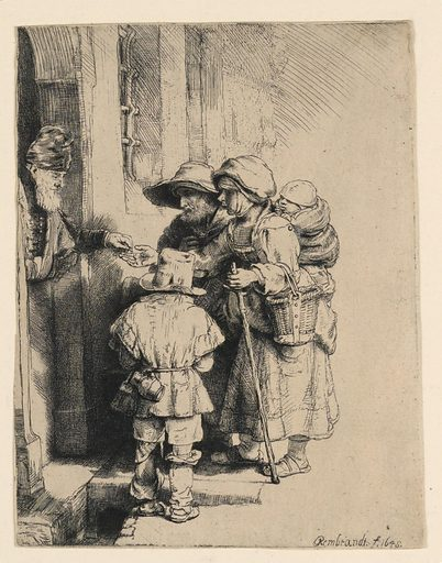 An old man, a woman, and a small boy, stand before the open door of a house. A man, partially seen in the doorway, left, places some coints in the outstretched hand of the woman. Made in: Netherlands. Date: 1640s. Record ID: chndm_1896-3-168.