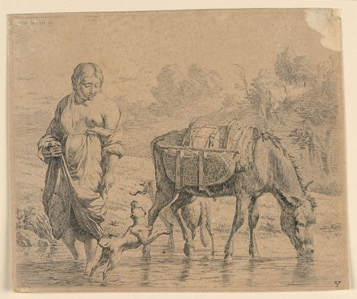 """A landscape with a brook in foreground, trees in background. At right, a sumpter drinks from the brook; at left, a woman with her head turned to right stands nearby. A dog jumps in front of her. Inscribed, upper left corner: """"K. du Jardin fecit""""; lower right: """"27."""". Print maker: Karel du Jardin, Dutch, 1626 – 1678. Made in: Netherlands. Date: 1650s. Record ID: chndm_1896-3-213."""