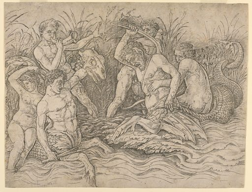 In marshy shallows, three male sea gods battle each other and two water satyrs. The water satyr on the left, armed with a club and a monster's head, is carrying a sea nymph on his back, who looks away from the battle in fear. The sea satyr on the right is armed with a hatchet and struggles to resist the grip of a sea god behind him. Meanwhile, another sea god blows a horn to rouse the spirits of the fighters, while the third is whacking left-and-right at the sea-satyrs with two fish. In the rushes in the background, serpents and sea creatures lurk. Print maker: Andrea Mantegna, Italian, ca. 1431 – 1506. Made in: Mantua, Lombardy, Italy. Date: 1400s. Record ID: chndm_1896-3-3.