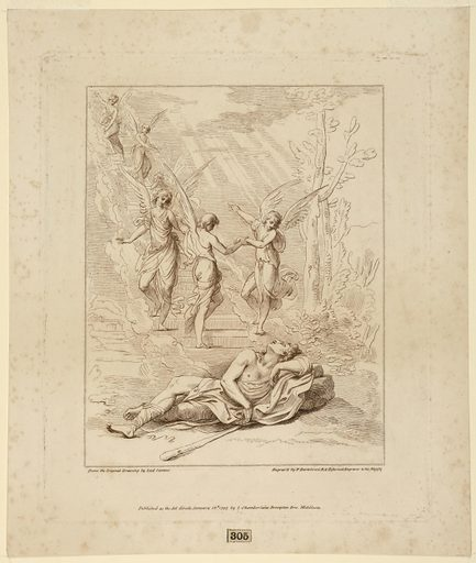 Jacob lies in foreground, with his head against a rock, his club at his side. Just beyond, mounting to the left, stairs are enveloped in clouds, with five angels on them indicicating the way up. Print maker: Francesco Bartolozzi, Italian, 1727–1815. Made in: England. Date: 1790s. Record ID: chndm_1896-3-304.