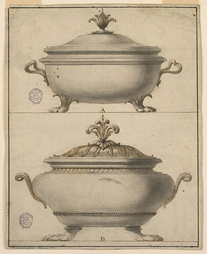 Page divided horizontally with two tureens, labeled A and B. Both tureens have claw feet, scrolling handles and acanthus finial. Lower example has two decorative bands on body. Made in: Europe. Date: 1790s. Record ID: chndm_1901-39-1075.