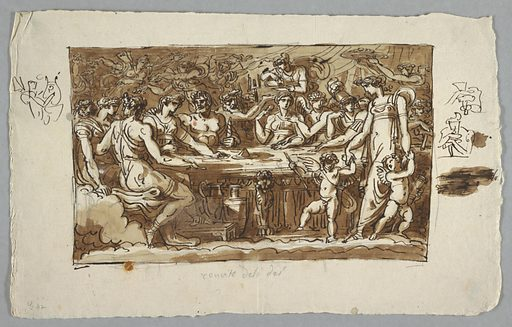 Horizontal rectangle showing gods in classical dress gathered around a table. There are surrounded by servants, dancers and putti. Under the table is pottery. Sketches around the margins. Made in: Italy. Date: 1800s. Record ID: chndm_1901-39-1668.