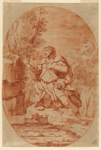 The saint kneels before a stag who appears in the woods. At right, a horse. Made in: Italy. Date: 1700s. Record ID: chndm_1901-39-23.