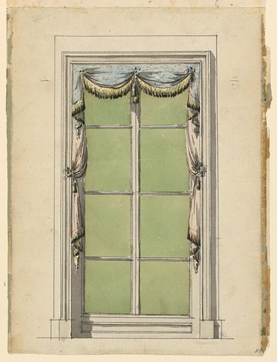 Simply delineated window case and frame for tall casement windows. Window treatment consists of blue fabric dotted with pink spots, gathered in center and corners to create short festoon and pleats on either side. This valence lays over a pale pink curtain, also gathered just above the center of the window frame on either side, yielding a soft drape and pleats. Both curtains and valence are ornamented with yellow fringe having darked eneds. Tiebacks match fringe. Made in: France. Date: 1800s. Record ID: chndm_1908-26-137.