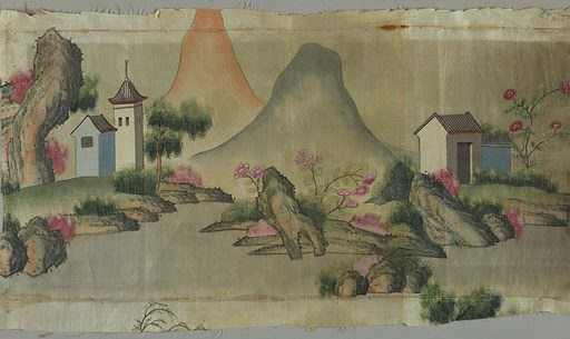 Oblong panel of taffeta painted in polychrome with design of rocks, mountains, buildings. Part of a larger panel. Made in: China. Date: 1820s. Record ID: chndm_1961-99-1.
