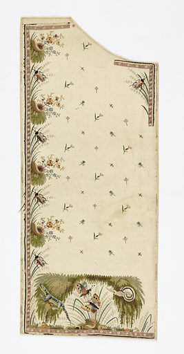 Left front of gentleman's waistcoat with embroidered design of a lizard, snail, crickets, and butterflies. Made in: France. Date: 1780s. Record ID: chndm_1962-54-44.