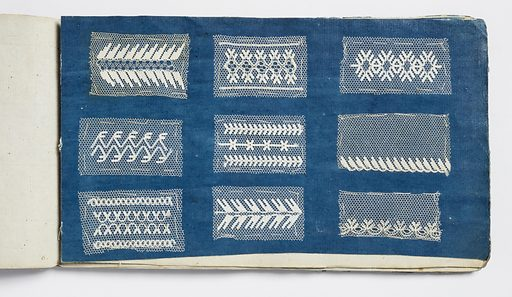 Small sample book with twenty-one dark blue pages filled with small swatches of various patterns of embroidered net. Made in: England. Date: 1800s. Record ID: chndm_1965-60-6.