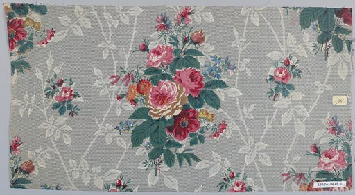 A) Ground molotte printed in grey in zig-zag and meandering ivy pattern; over-printed with detached flower clusters in pink, blue, yellow and green. B) Similar ground, smaller vine; over-printed with large floral sprays and detached rosebuds in reds, pinks, yellow, blue and greens. Date: 1820s. Record ID: chndm_1967-10-18-c.