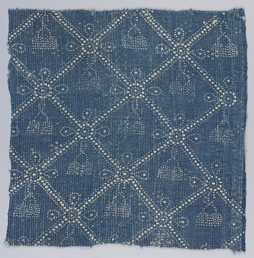 Woven fabric with ribbing created in weft by using two fine threads alternating with one heavy thread. Design of blue resist on ivory showing a diamond grid with bow and tassel pattern on one side. Reverse pattern is formed by a grid of overlapping circles with dotted centers. Selvage on one side. Made in: France. Date: 1800s. Record ID: chndm_1973-29-3.