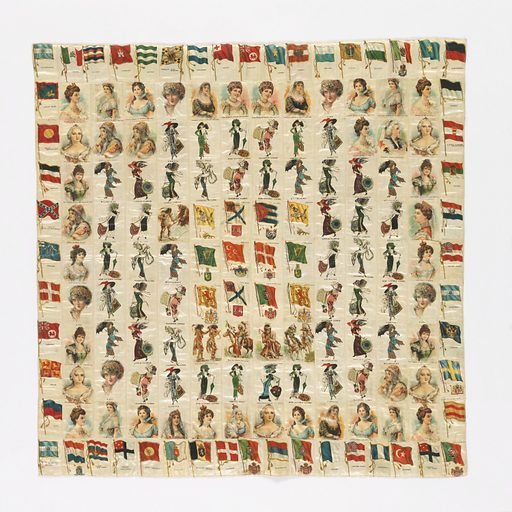 Patchwork cover of cigarette souvenirs. Squares printed with national flags, famous queens and fashionable women. Backed with roller printed cotton with half-drop design of roses. Same backing as 1980-31-3. Made in: USA. Date: 1910s. Record ID: chndm_1980-31-2.