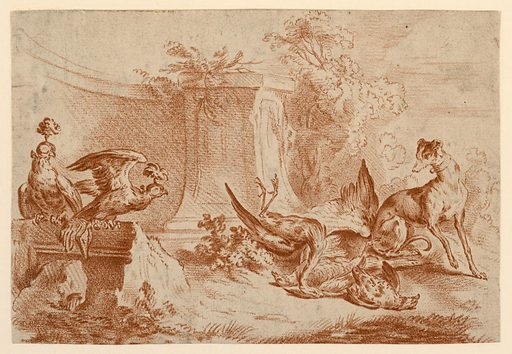 Two hooded falcons and hunting dog are grouped about dead pheasants on the ground in a garden setting. Print maker: Gilles Demarteau, Belgian, active in France, 1722 – 1776. Made in: France. Date: 1770s. Record ID: chndm_1921-22-344.