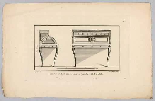 Design for Roll Top Desk. Print maker: de Saint-Morien, French, active late 18th c. Made in: Europe. Date: 1700s. Record ID: chndm_1931-94-508.