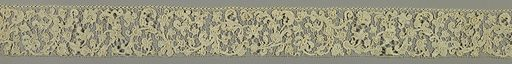 Lace band showing small-scale scrolling floral forms with raised outlines. A variety of filling stitches lightens areas of dense buttonhole stitches. Made in: France. Date: 1690s. Record ID: chndm_1950-121-15.