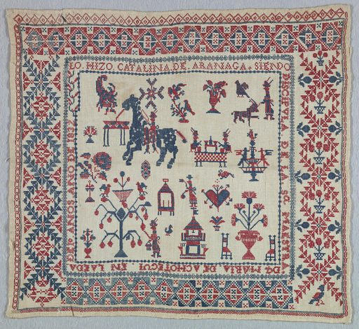 """Small sampler with central square filled with embroidered objects i.e. rider on horseback, man walking a dog, floral forms with birds, man picking fruit, two men fishing, a fountain, small building, and a heart surrounded by a band of writing: """"LO. HIZO. CATALINA. DE. ARANAGA. SIENDO DICIPOLA. DE. LA. SA MAESTRA DA MARIA. DE ACHOTEQUI. EN LA EDA DE 10 ANOS ANO DE 1832."""". Made in: Spain. Date: 1830s. Record ID: chndm_1971-50-165."""