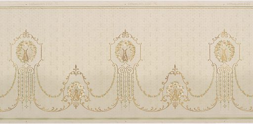 Medallions, alternating in shape, with a vase-like shape in the center, surrounded by a wreath of flowers. The medallions are connected by two swags, one a series of flowers and leafs, the other a series of delicate acanthus leafs. The background contains a faint pattern of leafs and small dots. Printed in gold, white, and shades of green. Made in: Chicago, Illinois, USA. Date: 1910s. Record ID: chndm_1979-91-197.