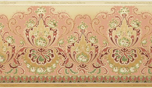 Clusters of white flowers enclosed in scrolling medallions. Every second medallion is raised up with a floral garland or swag below. The ground color shades from light tan at the top to a darker tan at the bottom, while the majority of the background is printed in mauve, separated from the tan with foliate scrolls. Has an Alhambra effect. Date: 1910s. Record ID: chndm_1979-91-394.