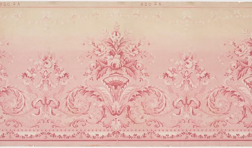 This frieze features a horizontal repeat of alternating large and small floral arrangements supported by bows and acanthus scrollwork. A small festoon of leaves and a solid stripe borders the bottom edge of the panel, and a small festoon of blossoms and bows hangs below a stripe on the top edge. The design is printed in shades of pink and white, and the background is shaded, fading from pink into beige from the bottom to top of the panel. Made in: Philadelphia, Pennsylvania, USA. Date: 1910s. Record ID: chndm_1979-91-365.