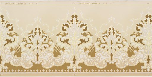 """A repeating design of elaborate arabesques silhouetted in a darker color with a """"halo"""" of a scrolling acanthus design upon a ground that is dark at the base, and light above the design. Very elaborate, but monochromatic. Printed in white, cream, beige, taupe and pale yellow. Made in: USA. Date: 1910s. Record ID: chndm_1979-91-44."""