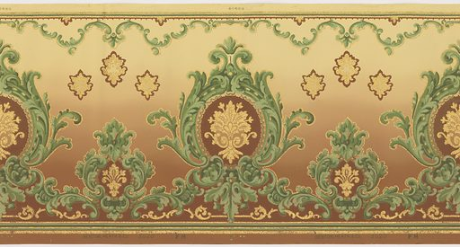 Flitter frieze alternating large and small fleur-de- medallions within acanthus leaf frame. Above these are a series of palmettes and a top border of acanthus scrolls. Printed in shades of green, brown, beige, sepia and gold mica flakes on a background that shades from deep to light brown. Made in: Hoboken, New Jersey, USA. Date: 1910s. Record ID: chndm_1979-91-3.