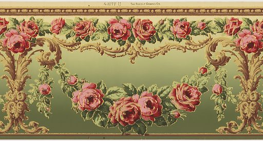 Flitter frieze containing swags of roses hung from acanthus leaf candelabrum, with a border of bead-and-reel pattern. Printed in pinks, greens, tans and gold mica flakes on a background that shades from tan to green. Made in: New York, USA. Date: 1910s. Record ID: chndm_1979-91-8.