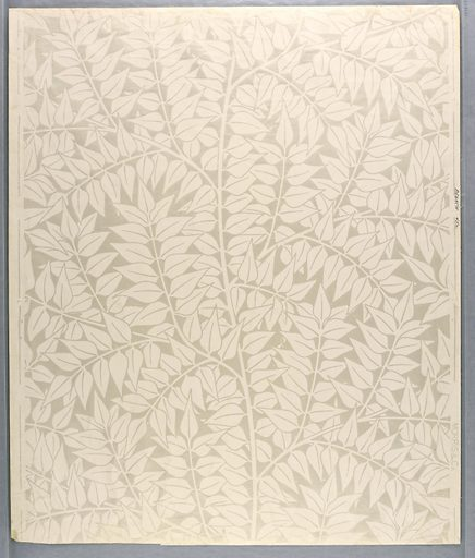 Repeat of simple laurel leaf clusters. Printed in white on semi-glazed field. Made in: London, England. Date: 1870s. Record ID: chndm_1935-23-12.