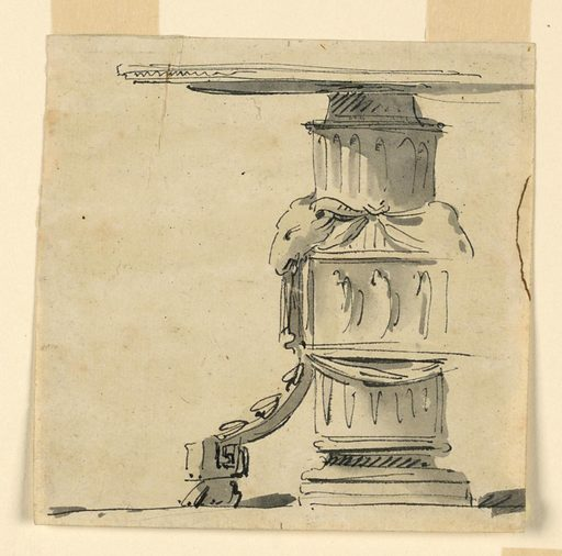 Design for a table supported in the center by a fluted column, decorated in its middle with a relief displaying figures surrounded by a drapery festoon hanging from ram's heads. A secondary leg springs from the lower corner of the frame of the relief and is supported by a lion's foot. Made in: Italy. Date: 1770s. Record ID: chndm_1938-88-2091.
