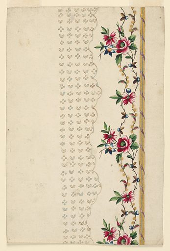 A rising border is framed at right by two fold strips around which a ribbon is wound, at left, by the scalloped edge of the field. Two waved flower stems rise in the border. The field shows four dots and two leaves alternating in horizontal and vertical rows. Made in: France. Date: 1770s. Record ID: chndm_1914-21-53.
